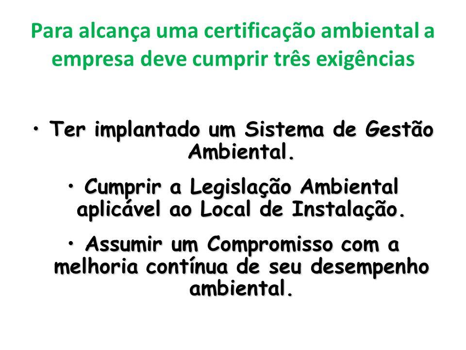 Para alcança uma certificação ambiental a empresa deve cumprir três exigências