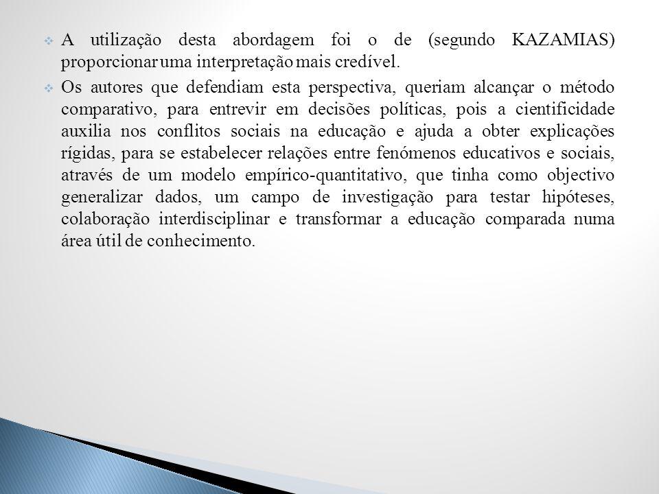 A utilização desta abordagem foi o de (segundo KAZAMIAS) proporcionar uma interpretação mais credível.