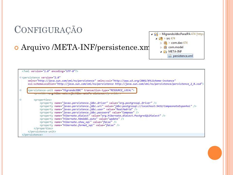 Configuração Arquivo /META-INF/persistence.xml