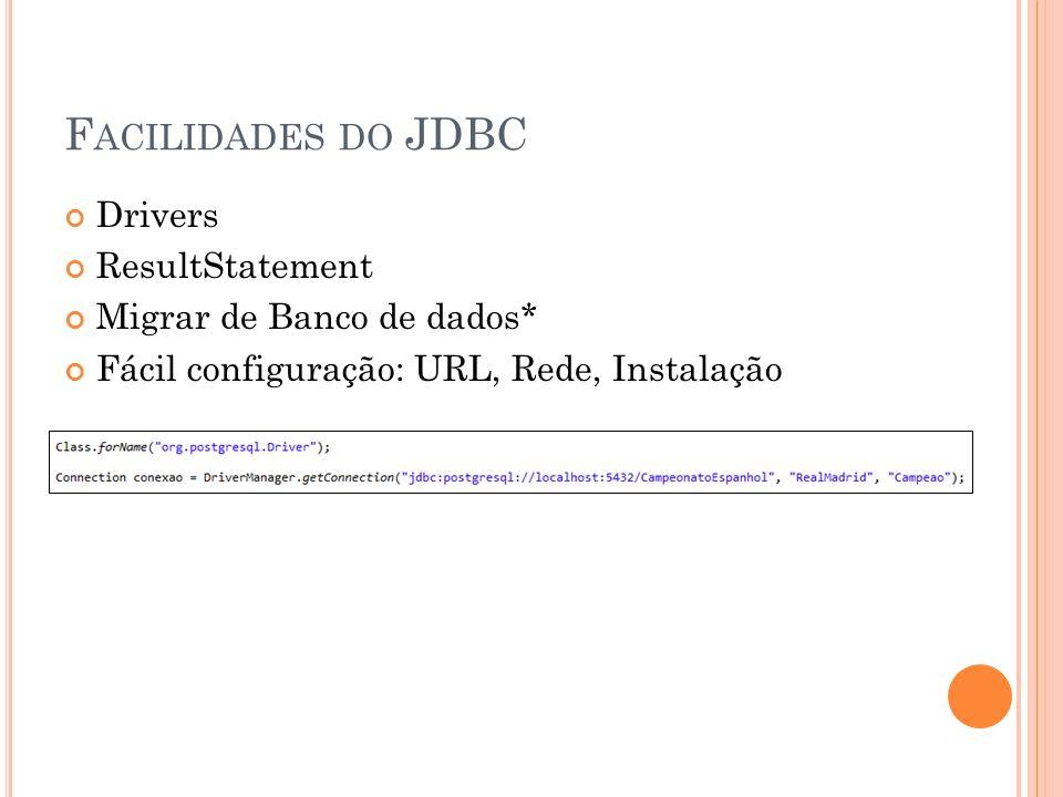 Facilidades do JDBC Drivers ResultStatement Migrar de Banco de dados*