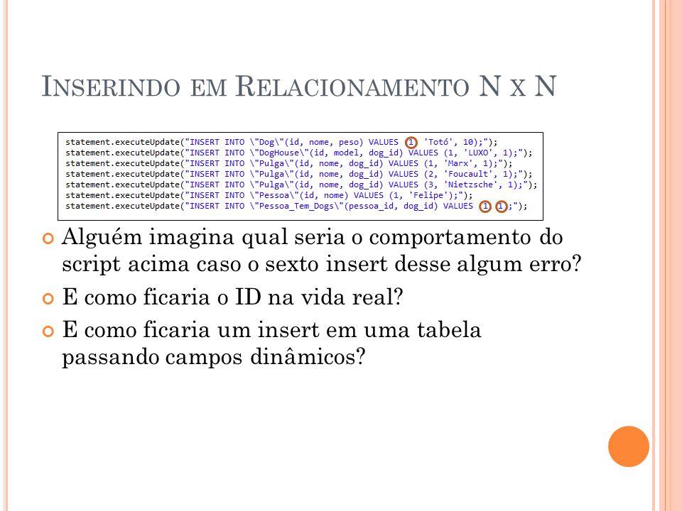 Inserindo em Relacionamento N x N