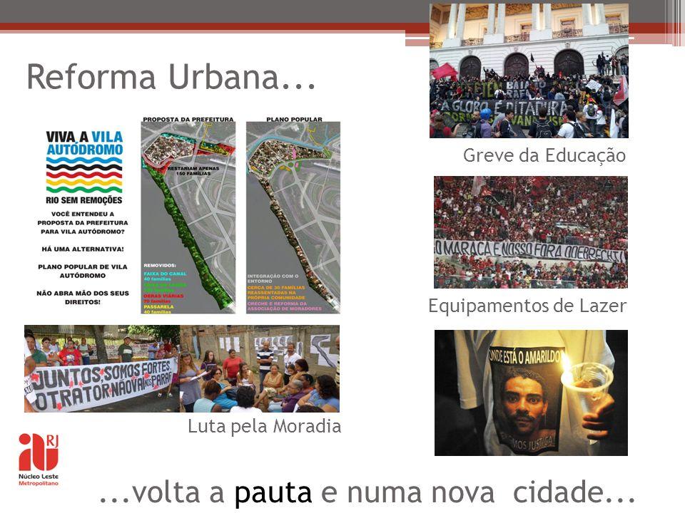 Reforma Urbana... ...volta a pauta e numa nova cidade...