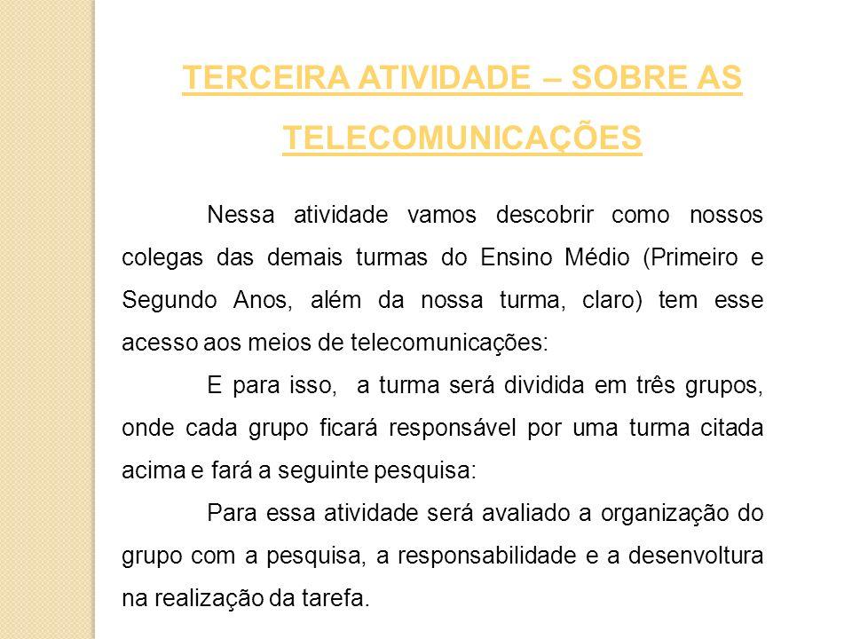 TERCEIRA ATIVIDADE – SOBRE AS TELECOMUNICAÇÕES