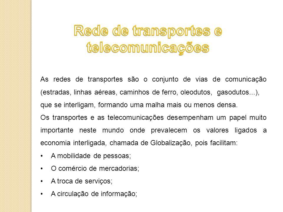 Rede de transportes e telecomunicações