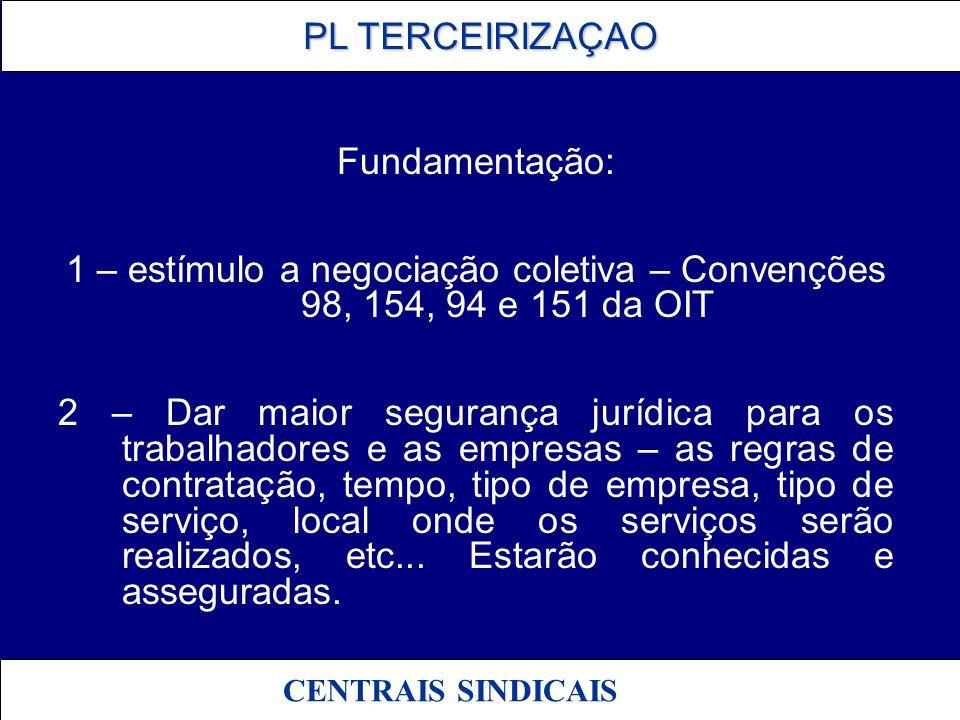 Fundamentação: 1 – estímulo a negociação coletiva – Convenções 98, 154, 94 e 151 da OIT.