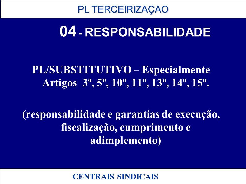 04 - RESPONSABILIDADE PL/SUBSTITUTIVO – Especialmente Artigos 3º, 5º, 10º, 11º, 13º, 14º, 15º.