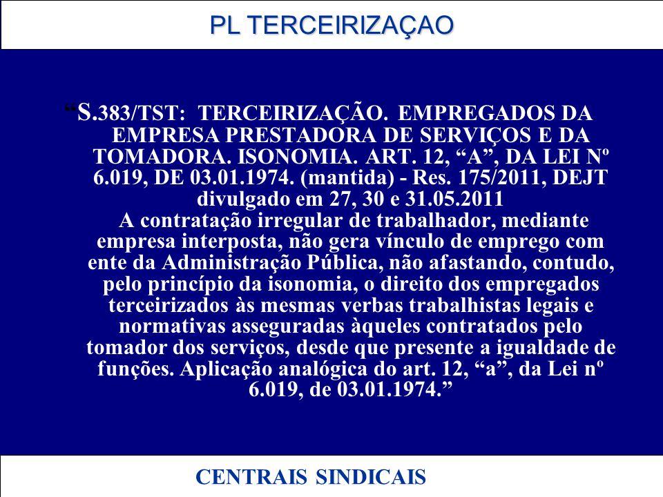 S. 383/TST: TERCEIRIZAÇÃO