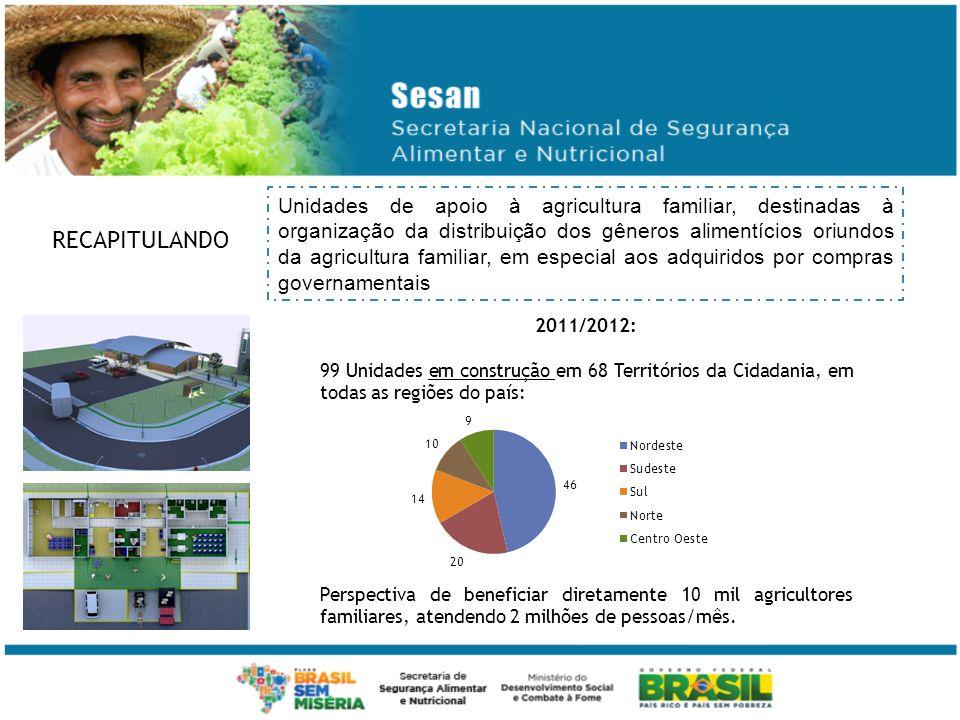 Unidades de apoio à agricultura familiar, destinadas à organização da distribuição dos gêneros alimentícios oriundos da agricultura familiar, em especial aos adquiridos por compras governamentais