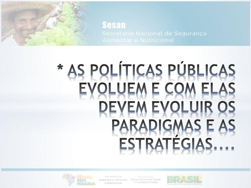 * AS POLÍTICAS PÚBLICAS EVOLUEM E COM ELAS DEVEM EVOLUIR OS PARADIGMAS E AS ESTRATÉGIAS....