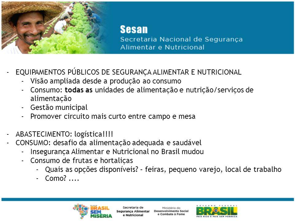 EQUIPAMENTOS PÚBLICOS DE SEGURANÇA ALIMENTAR E NUTRICIONAL