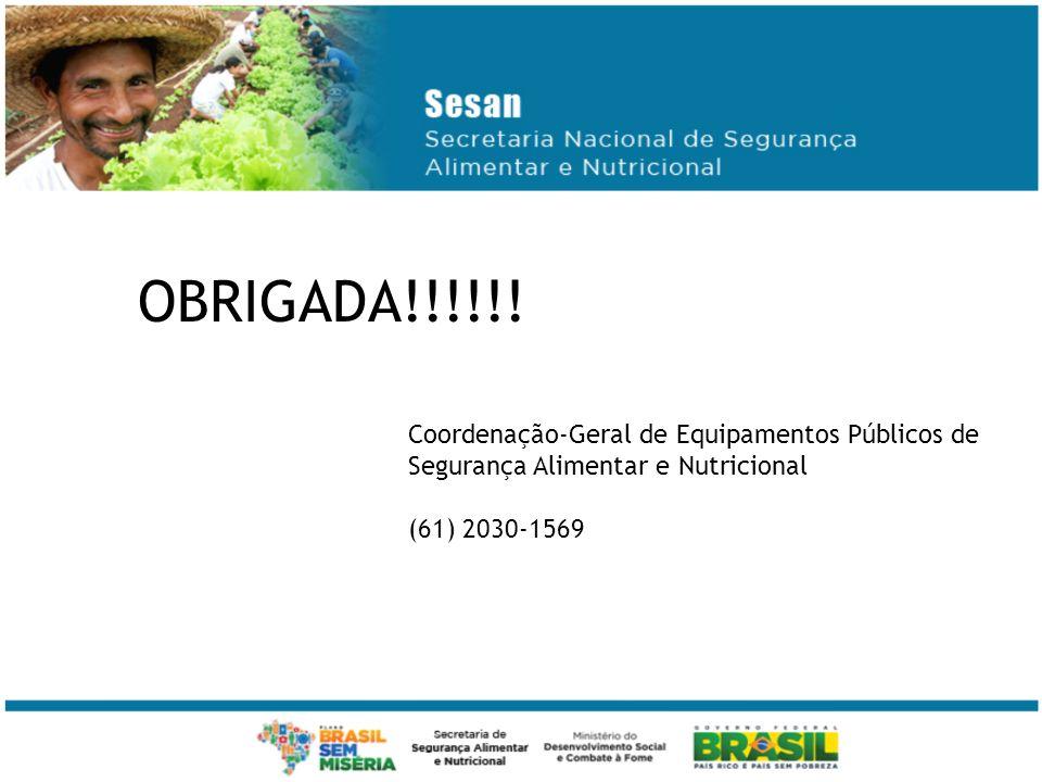 OBRIGADA!!!!!. Coordenação-Geral de Equipamentos Públicos de Segurança Alimentar e Nutricional.