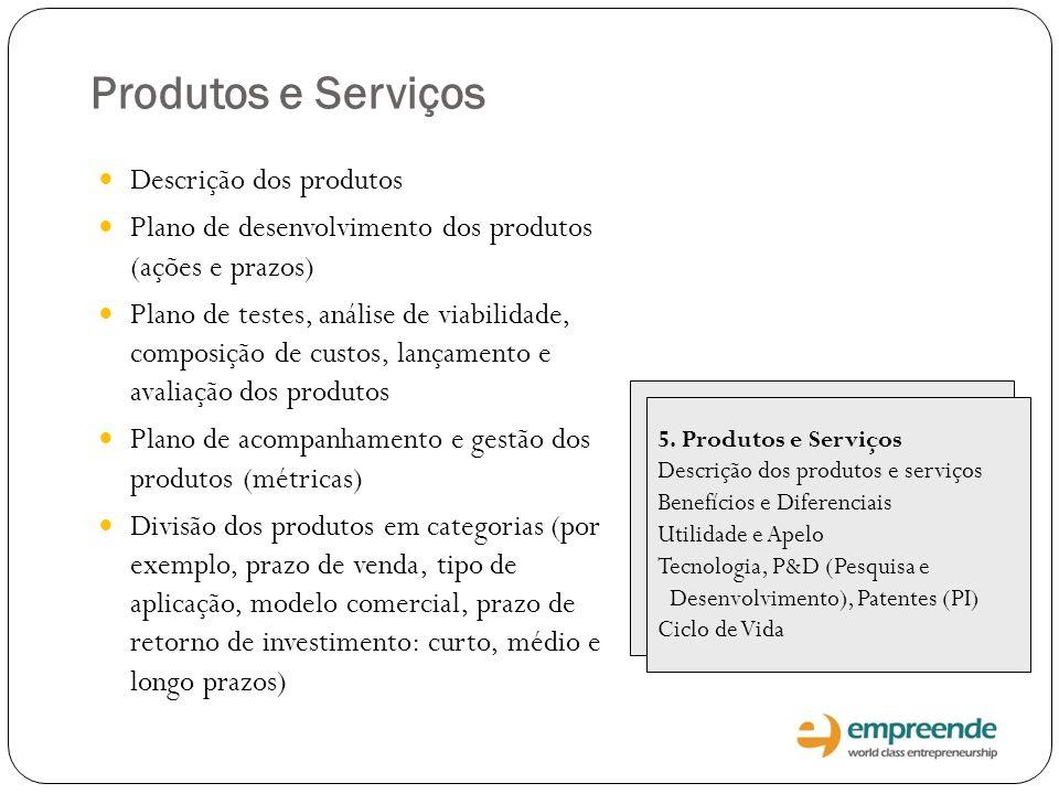 Produtos e Serviços Descrição dos produtos