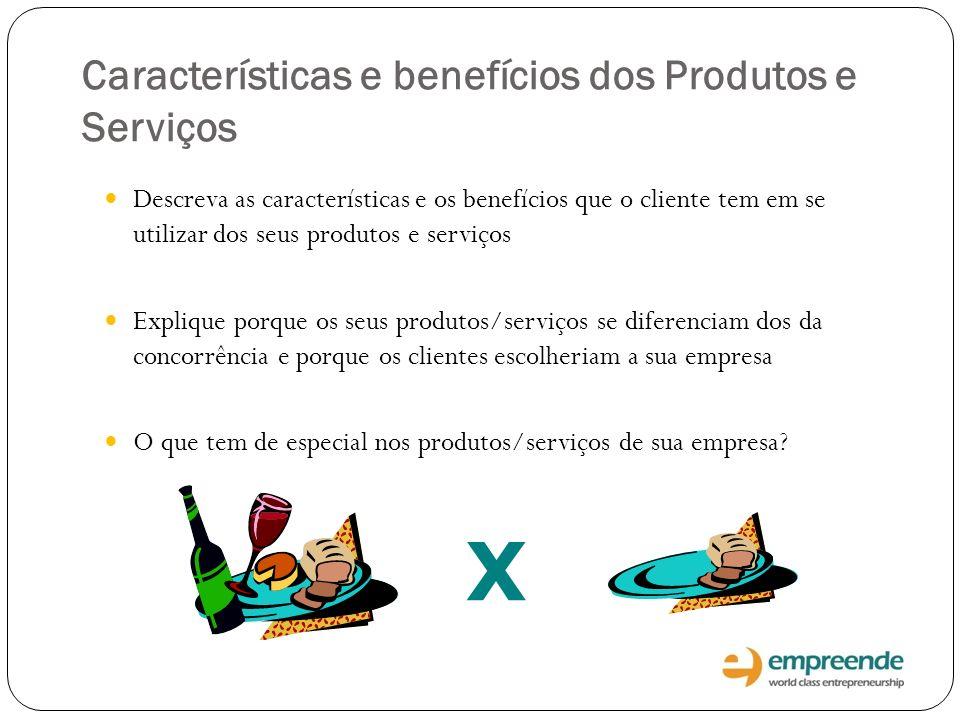 X Características e benefícios dos Produtos e Serviços