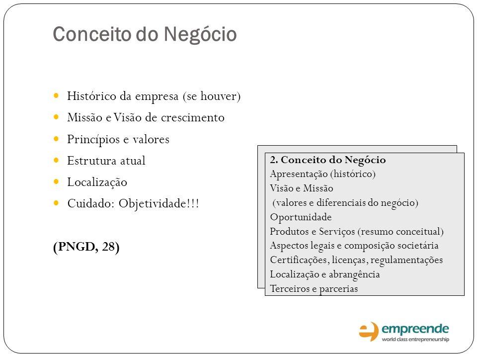 Conceito do Negócio Histórico da empresa (se houver)