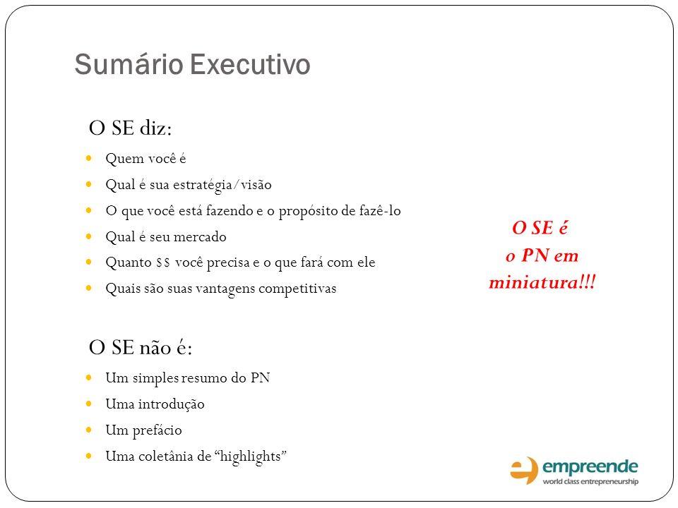 Sumário Executivo O SE diz: O SE não é: O SE é o PN em miniatura!!!
