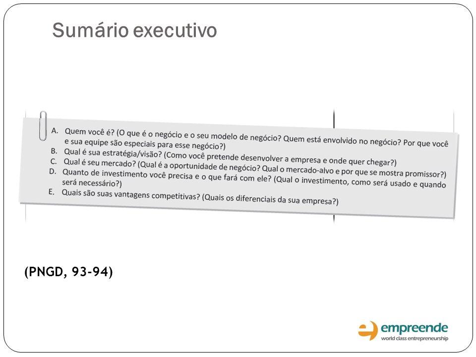 Sumário executivo (PNGD, 93-94)