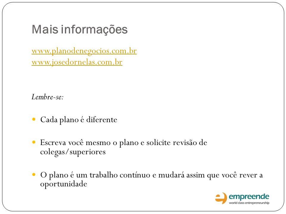 Mais informações www.planodenegocios.com.br www.josedornelas.com.br