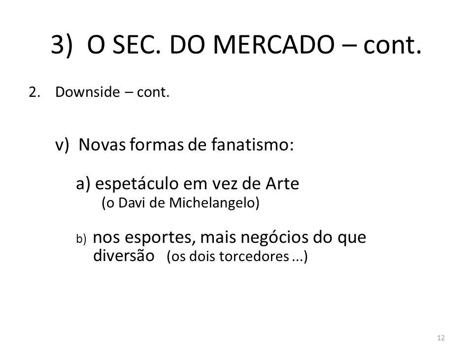 3) O SEC. DO MERCADO – cont. Downside – cont.