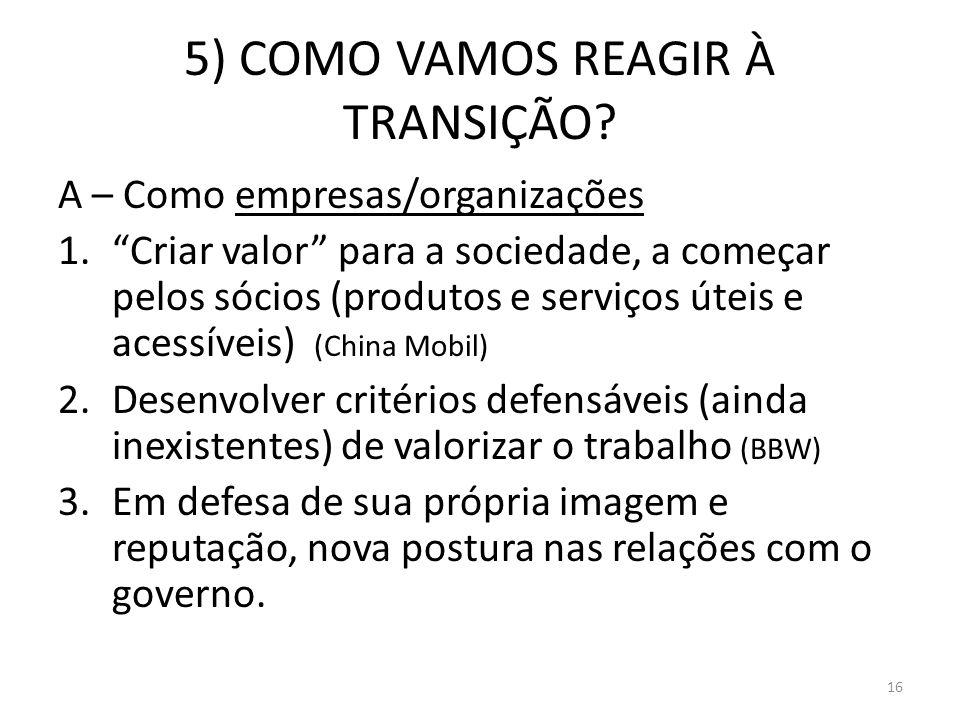 5) COMO VAMOS REAGIR À TRANSIÇÃO