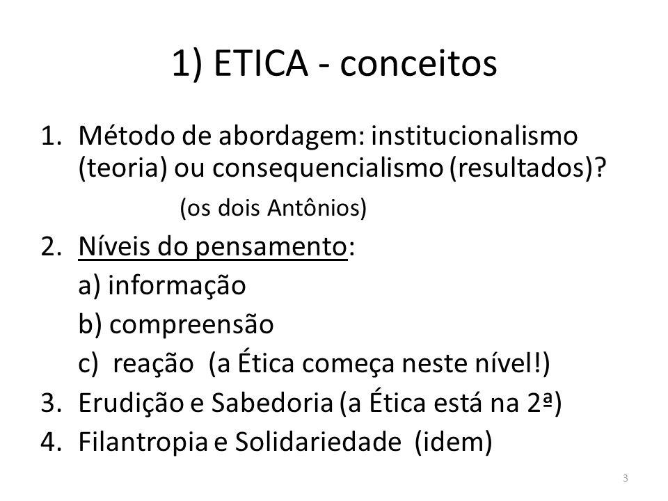 1) ETICA - conceitos Método de abordagem: institucionalismo (teoria) ou consequencialismo (resultados)