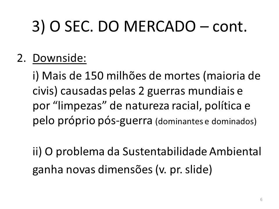 3) O SEC. DO MERCADO – cont. Downside: