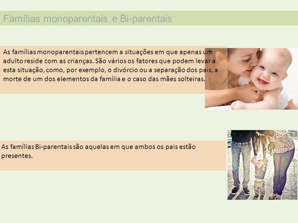 Famílias monoparentais e Bi-parentais
