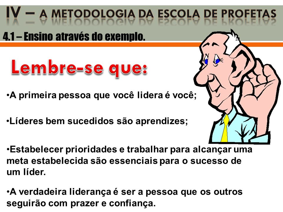 Iv – a metodologia DA ESCOLA DE PROFETAS