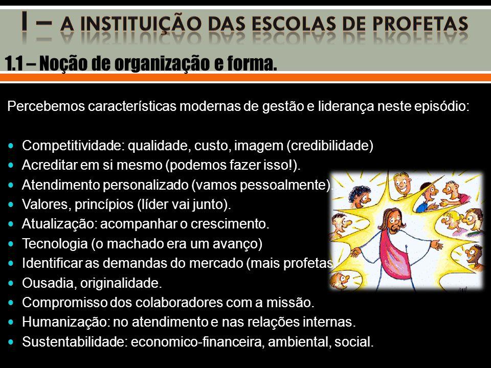 I – A INSTITUIÇÃO DAS ESCOLAS DE PROFETAS