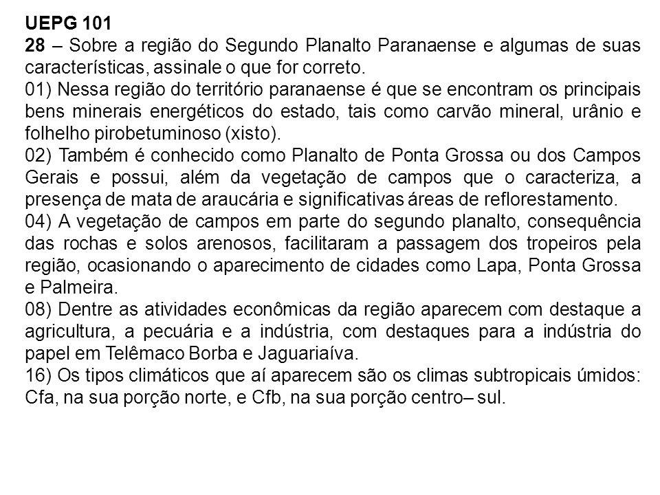 UEPG 101 28 – Sobre a região do Segundo Planalto Paranaense e algumas de suas características, assinale o que for correto.
