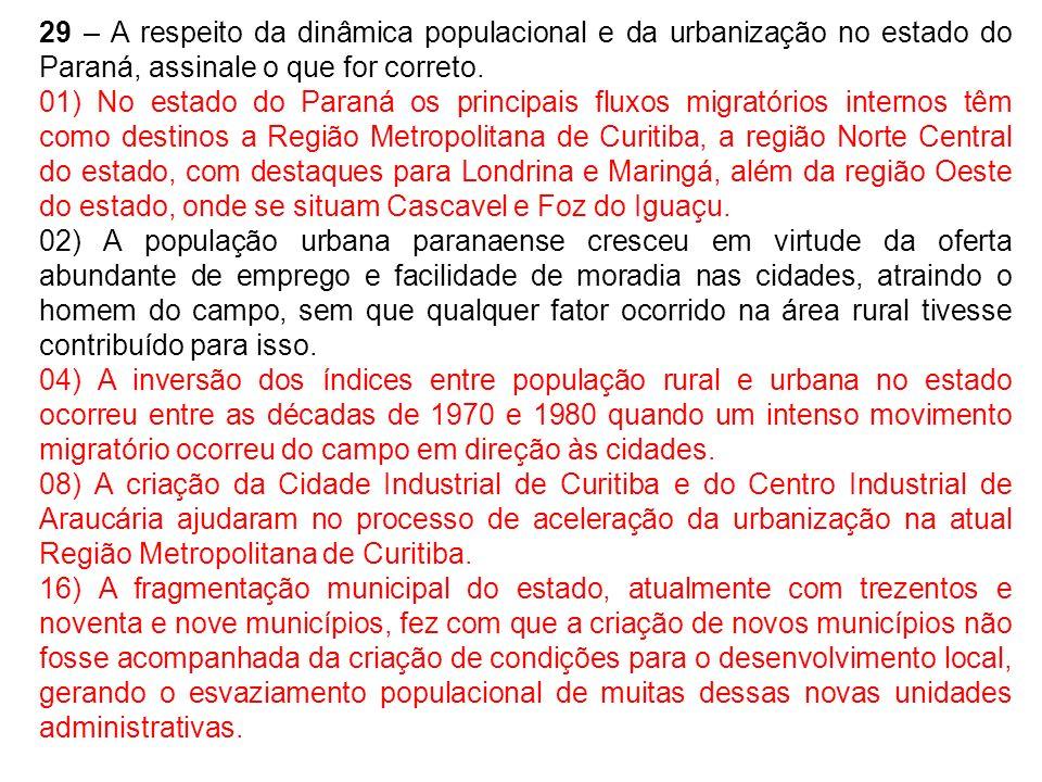 29 – A respeito da dinâmica populacional e da urbanização no estado do Paraná, assinale o que for correto.