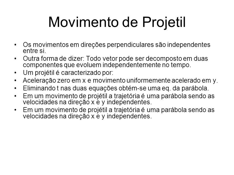 Movimento de Projetil Os movimentos em direções perpendiculares são independentes entre si.