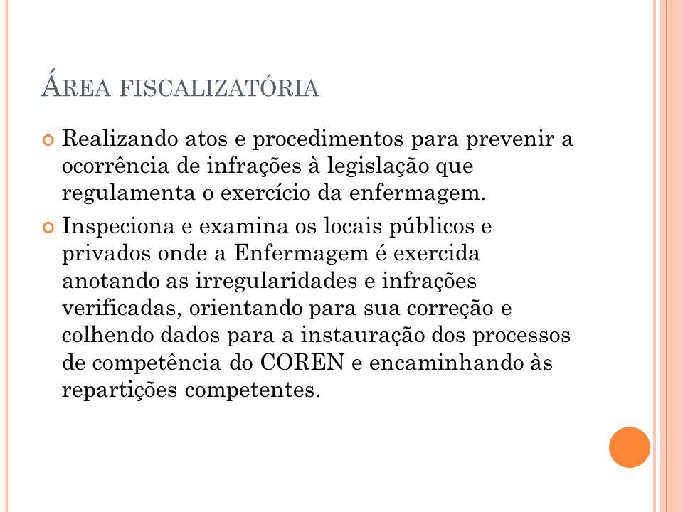 Área fiscalizatória Realizando atos e procedimentos para prevenir a ocorrência de infrações à legislação que regulamenta o exercício da enfermagem.