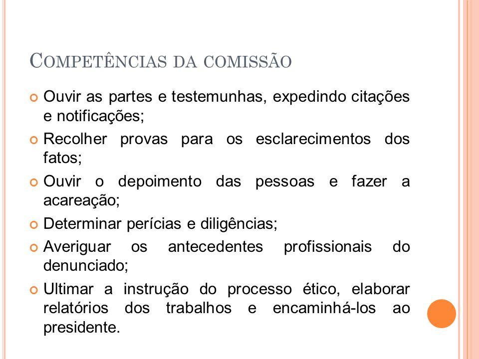 Competências da comissão