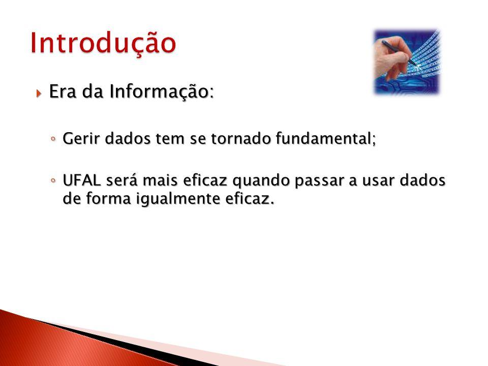 Introdução Era da Informação: Gerir dados tem se tornado fundamental;