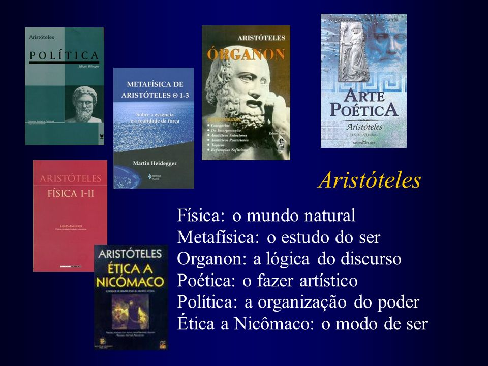 Aristóteles Física: o mundo natural Metafísica: o estudo do ser