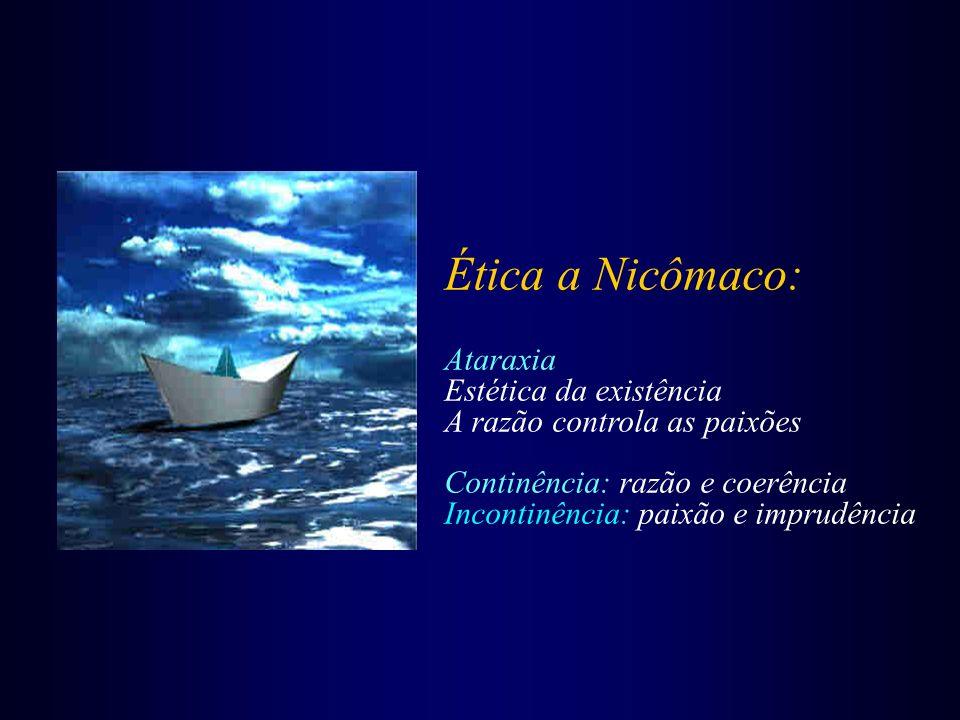 Ética a Nicômaco: Ataraxia Estética da existência A razão controla as paixões Continência: razão e coerência Incontinência: paixão e imprudência