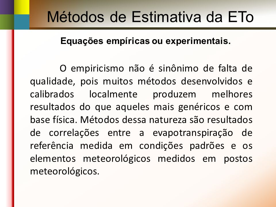 Métodos de Estimativa da ETo