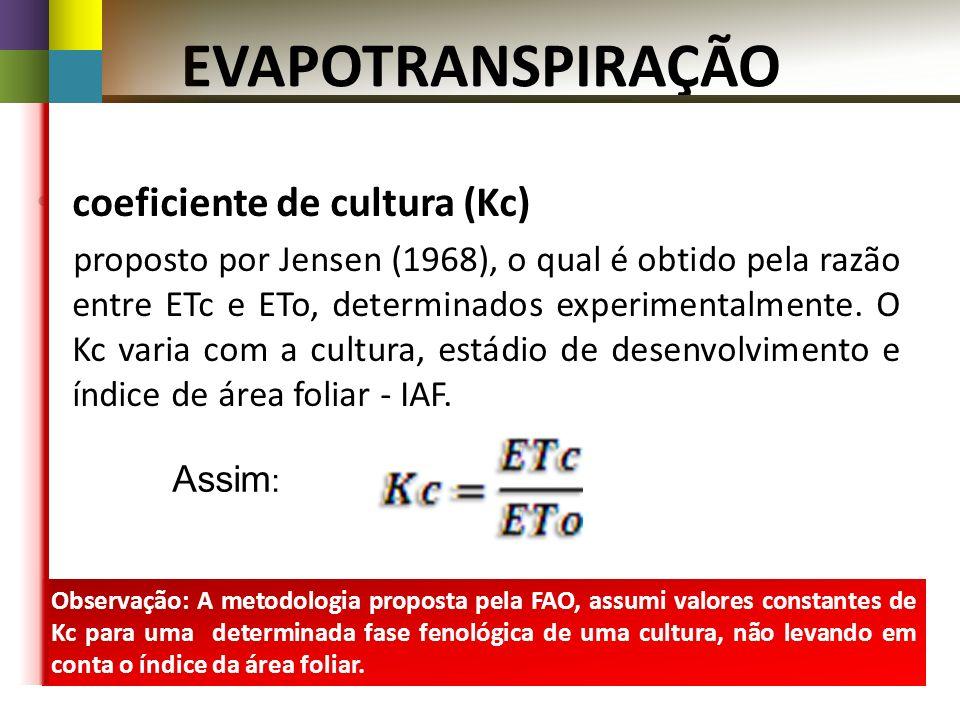 EVAPOTRANSPIRAÇÃO coeficiente de cultura (Kc)