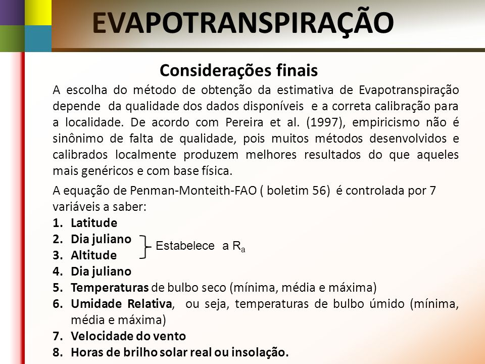 EVAPOTRANSPIRAÇÃO Considerações finais