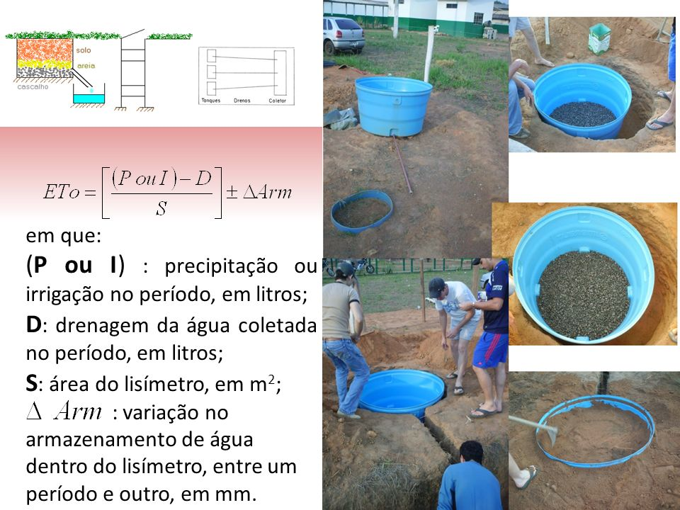 (P ou I) : precipitação ou irrigação no período, em litros;