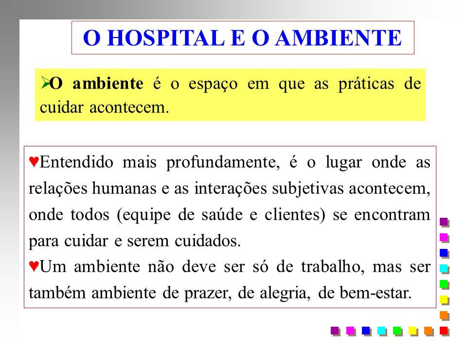 O HOSPITAL E O AMBIENTE O ambiente é o espaço em que as práticas de cuidar acontecem.
