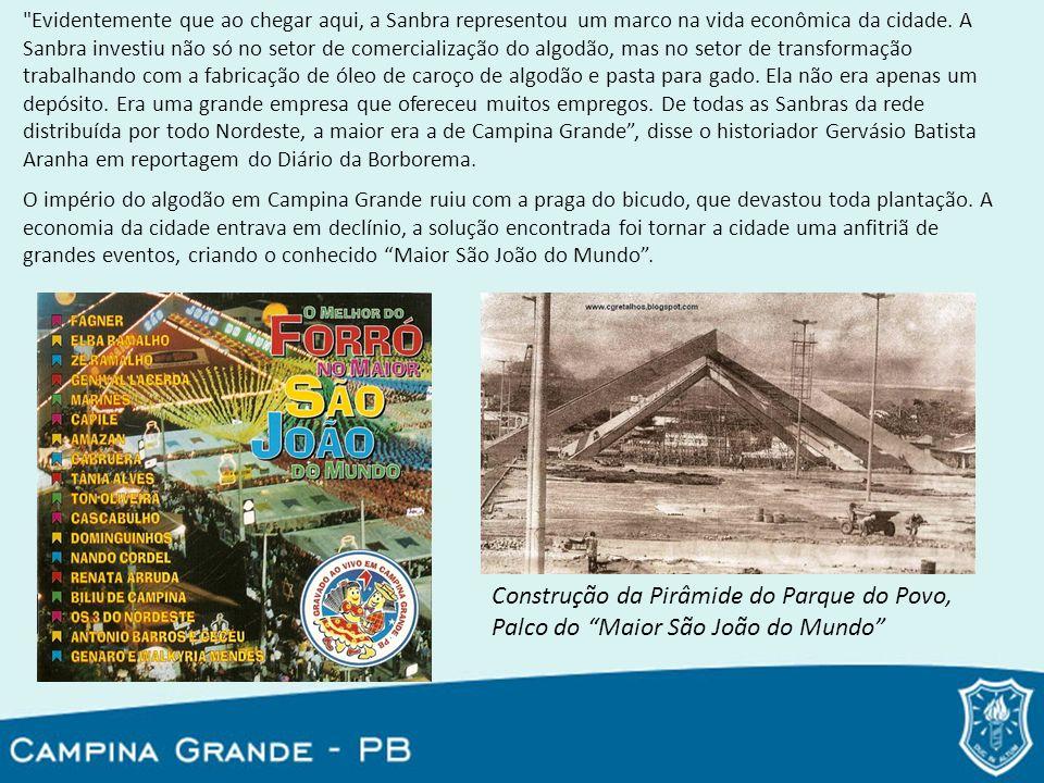 Construção da Pirâmide do Parque do Povo,