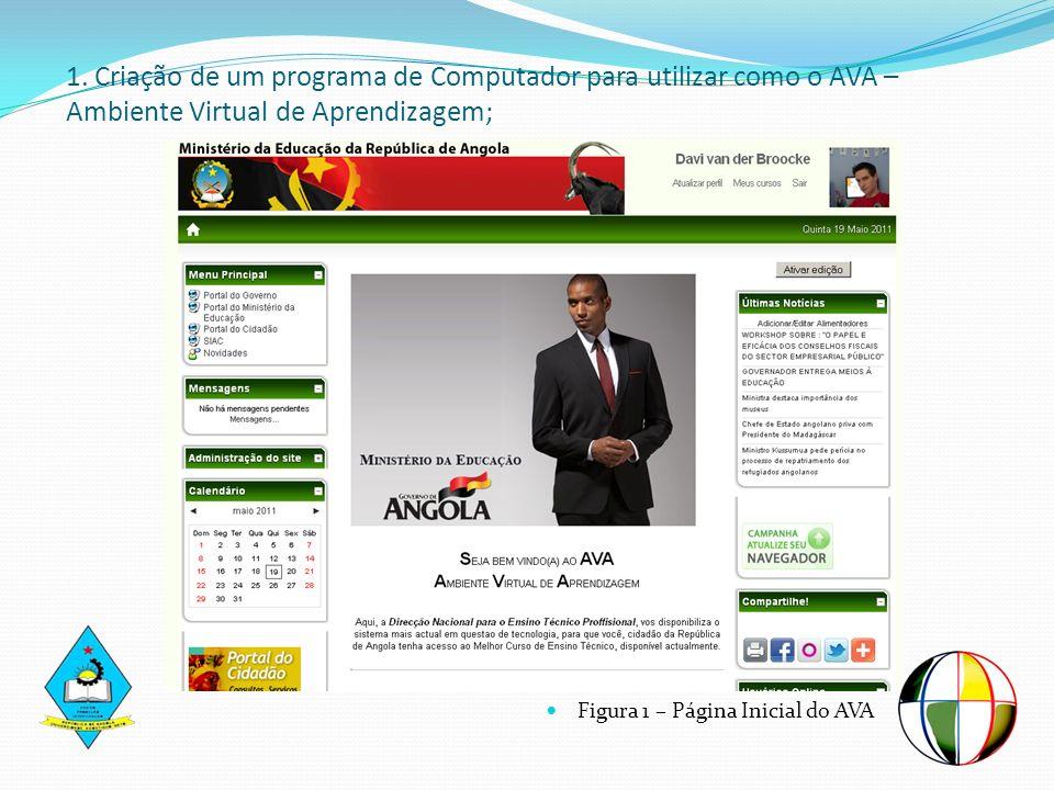 1. Criação de um programa de Computador para utilizar como o AVA – Ambiente Virtual de Aprendizagem;