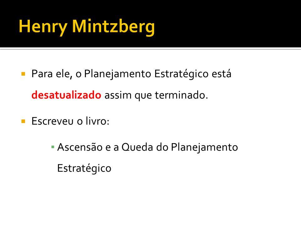 Henry Mintzberg Para ele, o Planejamento Estratégico está desatualizado assim que terminado. Escreveu o livro: