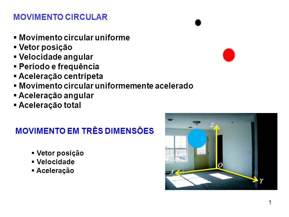Movimento circular uniforme Vetor posição Velocidade angular