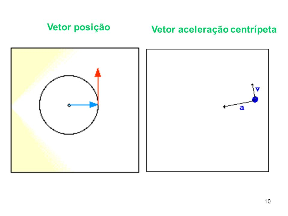 Vetor posição Vetor aceleração centrípeta