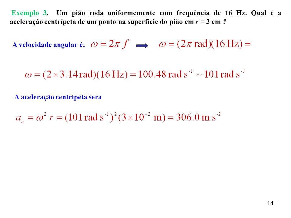 A velocidade angular é: