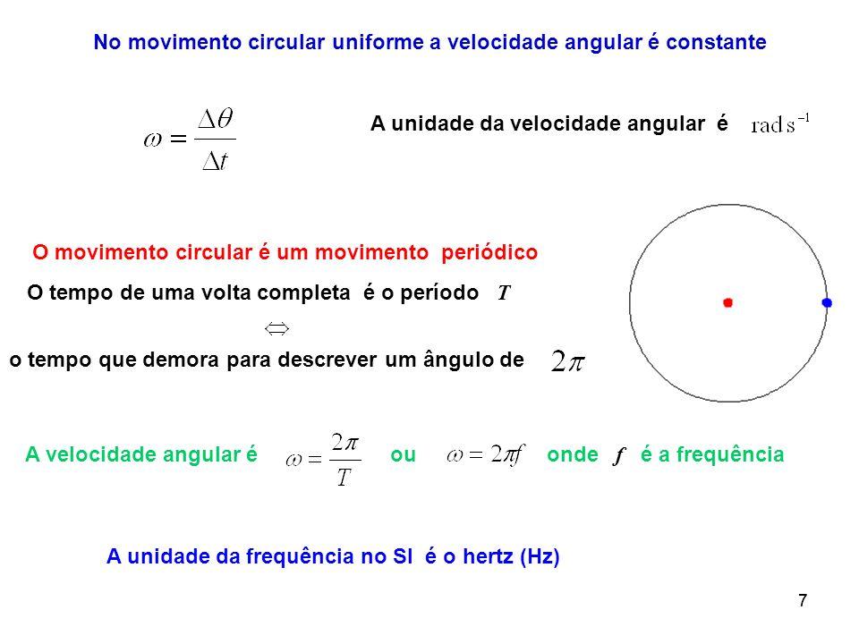 No movimento circular uniforme a velocidade angular é constante