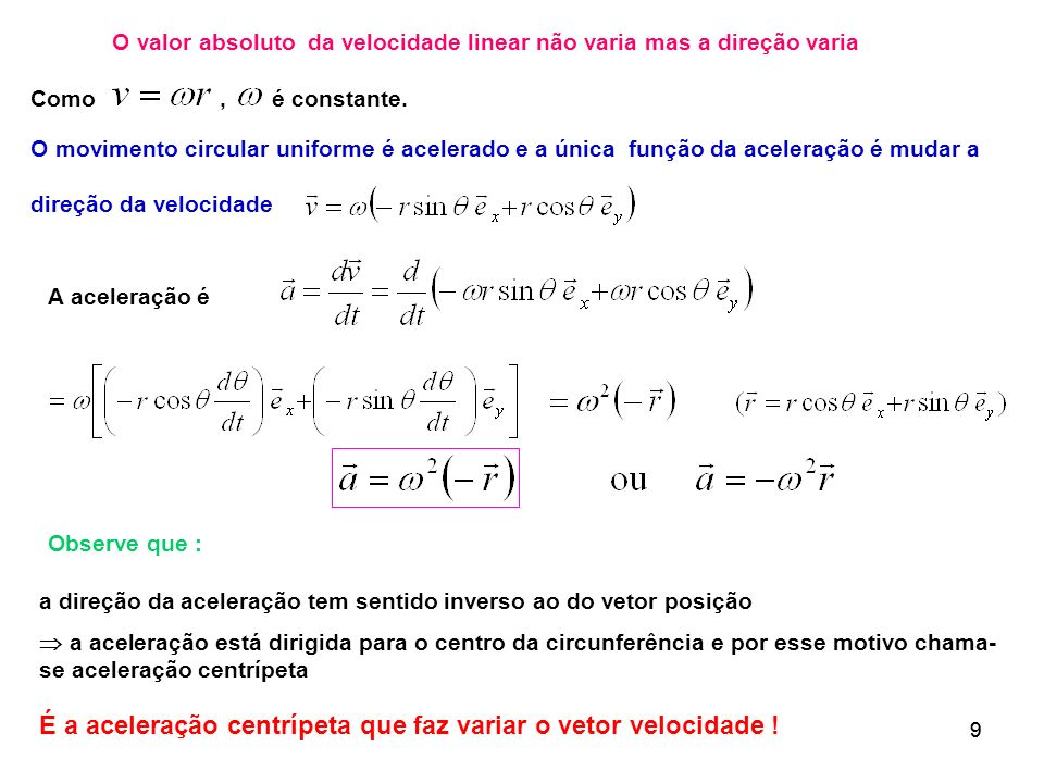 O valor absoluto da velocidade linear não varia mas a direção varia