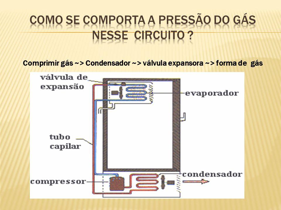 Como se comporta a pressão do gás nesse circuito